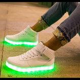 Высокие Белоснежные Светящиеся кроссовки LED.