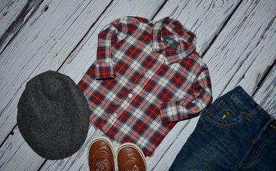 H&M Очень модная фирменная рубашка тенниска для мальчика 6 - 9 месяцев 74 см клетка