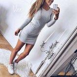 Платье мини с длинным рукавчиком 7 цветов