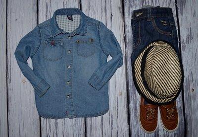 1 - 2 года 86 см Зара Zara Очень крутая модная фирменная джинсовая рубашка