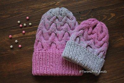 Комплект шапок Фемили лук для мамы и дочки ручной работы