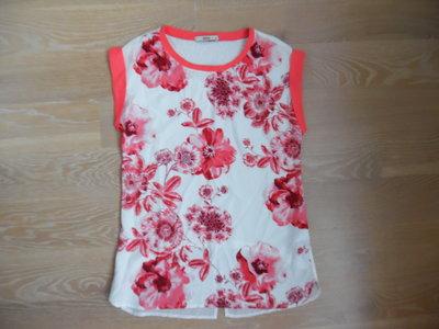 Блузка женская XS розовая цветы белая Oasis бренд модная стильная
