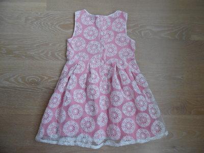Платье девочке 5-6 л котон новое кружево белое розовое F&F