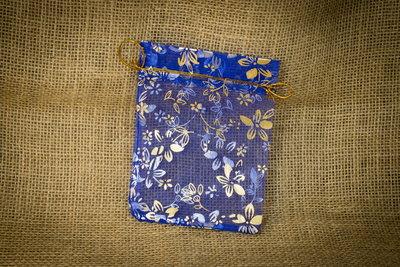 Подарочный пакет органза яркий синий