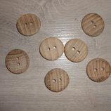 23 мм Пуговица круглая из дерева - 10 шт