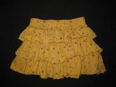 красивая горчичная юбка на 5-7 лет, Цветочки