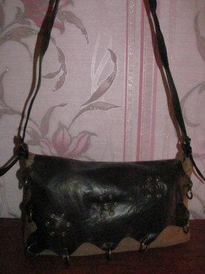 Шикарная сумка ткань с кожзамом на длинной ручке