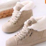 Сникерсы женские зимние теплые ботинки 3 цвета кроссовки маранты