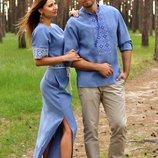 Вишитий комплект - чоловіча сорочка і жіноче плаття кольору деніму
