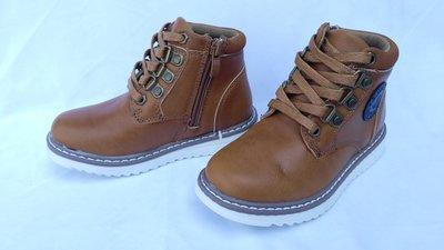 Ботинки коричневые осенние под Timberland, на мальчика и девочку, на змейке и шнурках, М281-3, Тм С