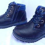 Ботинки синие осенние на мальчика на змейке и шнурках, S6240, Тм EeBb , размеры 26, 27, 28, 29, 30