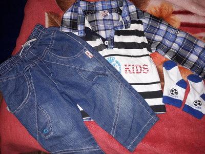 Рубашка и джинсы.Костюм на 9 мес.