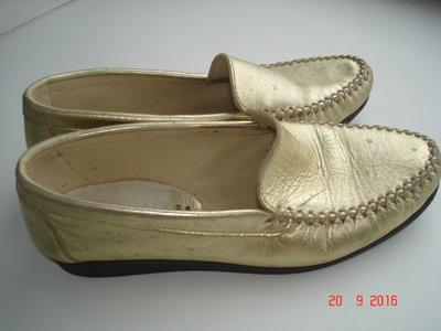 Туфли мокасины золотые 22,5 см