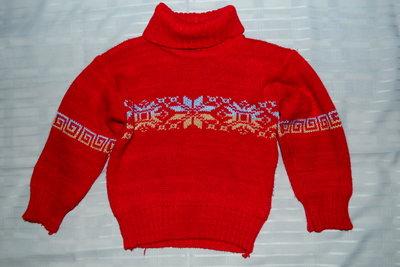 Зимний полушерстяной свитер с орнаментом унисекс