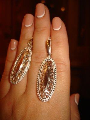 Суперский комплект с золотой накладкой. Серебро 925 Серьги - вес 10,10грамм, цена - 790 грн Серебро