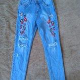 качественные джинсы MOM высокая посадка