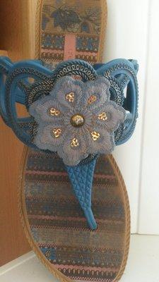 Шлепанцы-Вьетнамки голубого цвета р.38