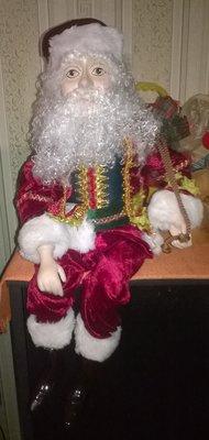 Огромная коллекционная фарфоровая кукла,дед мороз,санта клаус,куколка,эльф