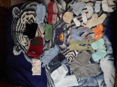 Пакет для мальчика на 0-3мес человечки,штаны,джинсы,колготы,футбрлка, шапка