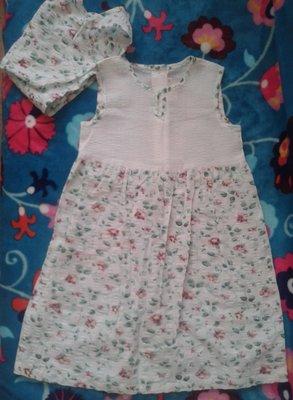 Платье и косынка для девочки 92р хлопок
