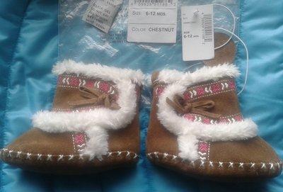 Пинетки замшевые для девочки 6-12мес ботиночки