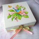 Шкатулка с ручной росписью Птичка