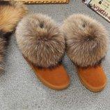 кожаные женские Угги ugg australia натуральные валенки сапоги зимние дутики сникерсы