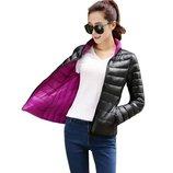 куртка женская Хит 2 в 1 двухсторонняя теплая пуховик пуховая зимняя куртка термо пуховая