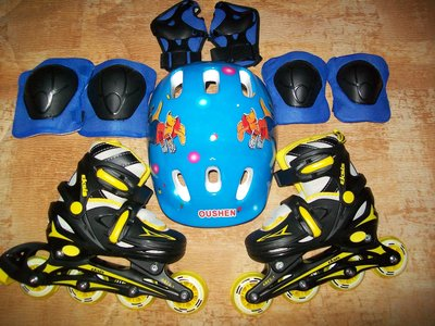 Детские раздвижные ролики 27-30, со шлемом и защитой