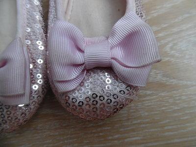 туфли балетки 14,5 см розовые паетки бангт H&M НМ