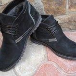 Ботинки мужские. А-11. натуральный нубук, натуральная цигейка