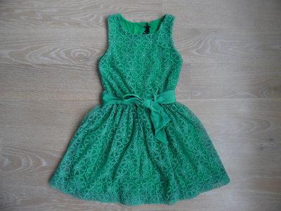 платье 6 лет сетка зеленое бант как новое кружево фирменное Next Некст нарядное цветки