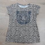 футболка детская 8-9 л детская новая леопард I love girl