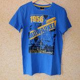 Синяя хлопковая футболка Тсм Tchibo р.158-164