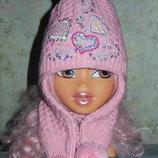 Красивая шапочка с ушками-шарфиком 48-50,на 2-5 лет