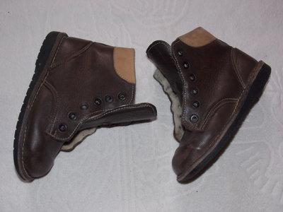 Кожаные коричневые ботиночки Rodalbkinder на натуральном меху - 18,5 см