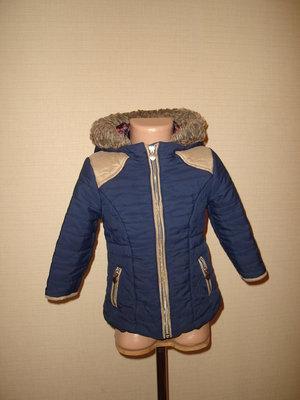 Удлиненная куртка, пальто на 2-3 года от F&F, простегана хорошее состояние