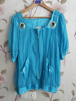 Голубой шикарный костюм блуза юбка р-р наш 52-56 см.замеры