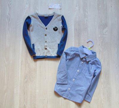 Новый шикарный комплект для мальчика кардиган рубашка. F&F. Размер 12-18 месяцев