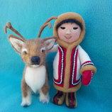 Кукла и олень. Ручная работа.