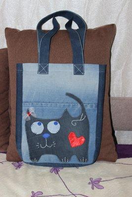 Джинсовая сумка, торба с забавными котами