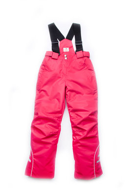 Зимние брюки для девочки на бретелях малина 03-00670-0
