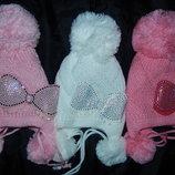 Зимние красивые шапки на девочек 9 мес.-3года 46-50 ,3 расцветки