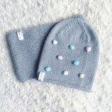 Детский вязаный комплект шапочка бини и снуд ручной работы