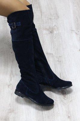 Продано: Зимние натуральные замшевые сапоги-ботфорты темно-синие