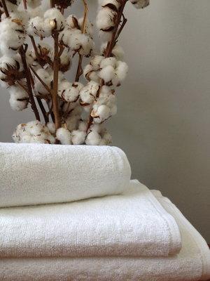 Махровое полотенце 50 90 см белого цвета 420 г/м2