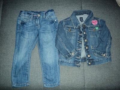 фирменные джинсы и джинсовка на 4 года,рост 104 см