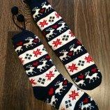Тёплые носки гольфы на меху с оргамент олени новые с тормозами яркие красивые
