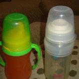 Поильник-Непроливайка Lovi и Бутылочка силиконовая с ложечкой.