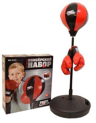 Боксерский набор MS 0333. Перчатки 2 шт, груша, стойка 90-130 см